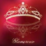 luksusowy złoto z perły kobiecą tiarą ilustracja wektor