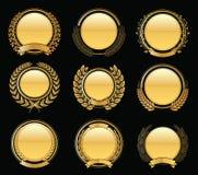 Luksusowych Złotych odznak wianku Laurowa kolekcja Obrazy Stock