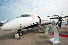 Luksusu Dżetowy bombardier Q400 NextGen przy Singapur Airshow 2014 Fotografia Royalty Free