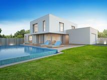 Luksusu dom z pływackim basenem i tarasowy pobliski gazon w nowożytnym projekcie, Pustym frontowym jardzie przy urlopowym domem l ilustracja wektor
