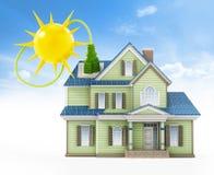 Luksusu dom zakrywający z panel słoneczny colllecting sunbeam ilustracja 3 d ilustracja wektor