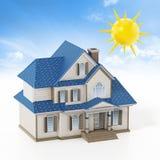 Luksusu dom zakrywający z panel słoneczny colllecting sunbeam ilustracja 3 d ilustracji