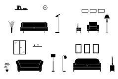 Luksusu domowy wewnętrzny czarny i biały set Pusta żywa izbowa sylwetka ilustracji