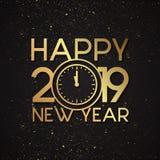 Luksusu listowy Szczęśliwy nowy rok 2019 z złocistego grunge wektorowym skutkiem ilustracji