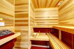 Luksusu sauna pokoju domowy wnętrze. zdjęcia stock