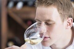 lukta vit wine för glass man Royaltyfria Bilder