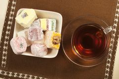 Lukum assort and tea Stock Photography