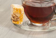 Lukum and tea Royalty Free Stock Photography