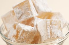 Lukum (Turkish Delight) in a bowl Stock Image