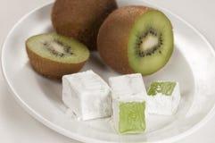 Lukum (Turkish Delight) with kiwi fruit Stock Image