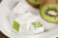 Lukum (Turkish Delight) with kiwi fruit Royalty Free Stock Photos
