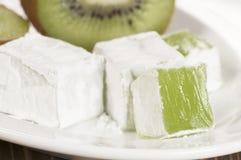 Lukum (Turkish Delight) with kiwi fruit Royalty Free Stock Images