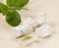 Lukum (Turkish Delight) with mint Stock Image