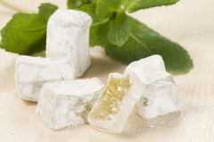 Lukum (Turkish Delight) with mint Royalty Free Stock Image