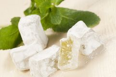 Lukum (Turkish Delight) with mint Stock Photo