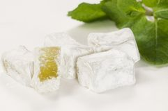 Lukum (Turkish Delight) with mint Royalty Free Stock Photography