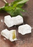 Lukum (Turkish Delight) with mint Stock Photography