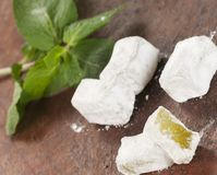 Lukum (Turkish Delight) with mint Royalty Free Stock Photo
