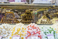 Lukum Turkish sweets and baklava on store shelves Stock Images