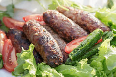 Lula kebab from lamb with vegetables Stock Photos