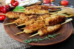 Lula-kebaben är en traditionell Caucasian kötträtt Chopped stekte kött på steknålar royaltyfri fotografi