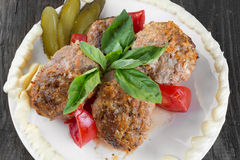 Lula lamb and tomatoes on a plate Stock Images