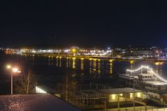 Sweden, Luleå at night, view over Luleälven. Royalty Free Stock Image