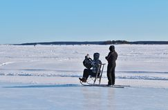 Luleå ice rink for recreation and cross-country skating. The ice rink goes from Northern Harbor around Gültzauudden to Södra Hamn and onwards to Grå stock photo
