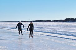 Luleå ice rink for recreation and cross-country skating. The ice rink goes from Northern Harbor around Gültzauudden to Södra Hamn and onwards to Grå royalty free stock image