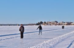 Luleå ice rink for recreation and cross-country skating. The ice rink goes from Northern Harbor around Gültzauudden to Södra Hamn and onwards to Grå stock images