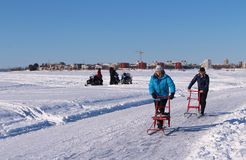 Luleå ice rink for recreation and cross-country skating. The ice rink goes from Northern Harbor around Gültzauudden to Södra Hamn and onwards to Grå stock image