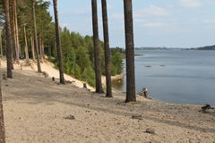 Luleå river beach. The arcus beach by the lule river in sweden royalty free stock photography