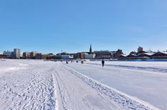 Luleås ice rink for recreation and cross-country skating. The ice rink goes from Northern Harbor around Gültzauudden to Södra Hamn and onwards to Grå stock photography