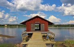 Lule河三文鱼渔博物馆在Gäddvik 免版税库存照片