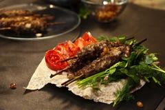 Lule-Kebabs auf einer Platte lizenzfreie stockfotos