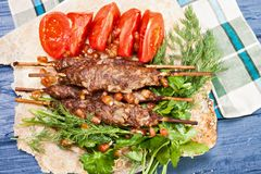 Lule-Kebabteller über Ansicht stockfotografie