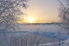 Lule River in winter sun Stock Photo