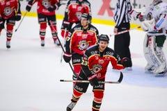 Lulea, Швеция - 18-ое марта 2015 Lucas Wallmark (хоккей #23 Lulea) празднуя цель Шведская Лиг-игра хоккея, между Lulea Стоковое фото RF