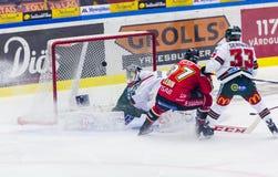 Lulea Sverige - mars 18, 2015 Per Ledin (hockey för #97 Lulea) ställningar! Svensk hockeyLiga-lek, mellan Lulea hockey och Frolun Royaltyfri Bild