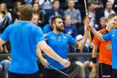 Lulea, Sweden - June 4, 2015. Friendship game in floorball between Lulea Hockey and IBK Lulea. Jacob Lagace (Lulea Hockey) scores stock images