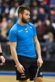 Lulea Szwecja, Czerwiec, - 4, 2015 Przyjaźni gra w floorball między Lulea hokejem Lulea i IBK Jacob Lagace (Lulea hokej) Zdjęcie Royalty Free