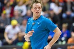 Lulea Szwecja, Czerwiec, - 4, 2015 Przyjaźni gra w floorball między Lulea hokejem Lulea i IBK Na Savilahti-Nagander (Lulea Hock Obrazy Royalty Free