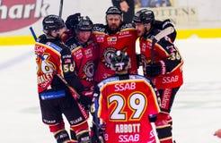 Lulea, Zweden - Maart 18, 2015 Per Ledin die (#97 Lulea-Hockey) zijn doel vieren! Zweeds Hockey liga-Spel, tussen Lulea Hocke Royalty-vrije Stock Fotografie