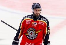 Lulea, Zweden - Maart 18, 2015 Per Ledin (#97 Lulea-Hockey) gelukkig tijdens het Zweedse Hockey liga-Spel, tussen Lulea-Hockey en Royalty-vrije Stock Foto's