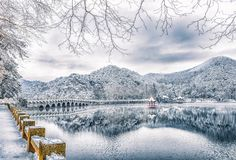 Snow Lulin Lake-Snow scene in Mount Lu. Lulin Lake, located in Lushan District, Jiujiang City, Jiangxi Province, is located in the Donggu Lulin Basin, also known royalty free stock photo