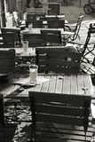 Lull. Empty tables at a restaurant in Berlin stock image