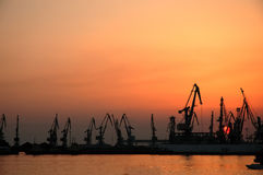 Lullaby. Sunset in port Stock Photo