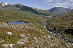 Lullihavaggein the middle of Sarek National Park Stock Photos