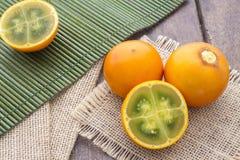 Lulo tropikalnej owoc Solanum quitoense Obraz Royalty Free