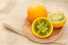Lulo tropikalnej owoc Solanum quitoense Zdjęcie Stock